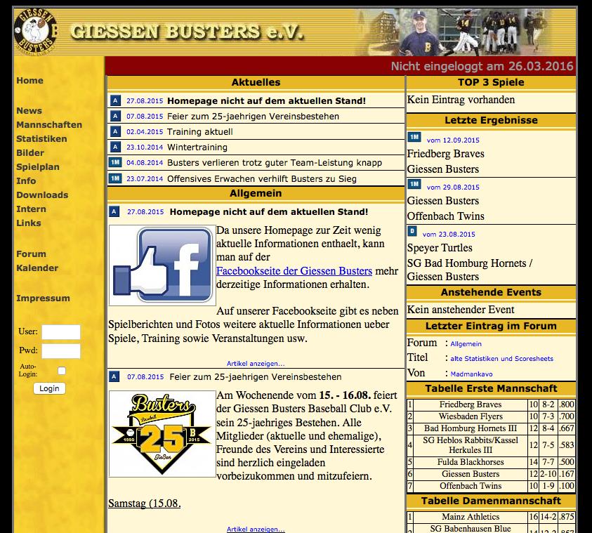 Screenshot alte Webseite